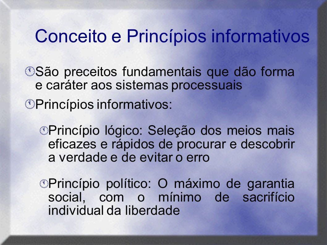Conceito e Princípios informativos  São preceitos fundamentais que dão forma e caráter aos sistemas processuais  Princípios informativos:  Princípi