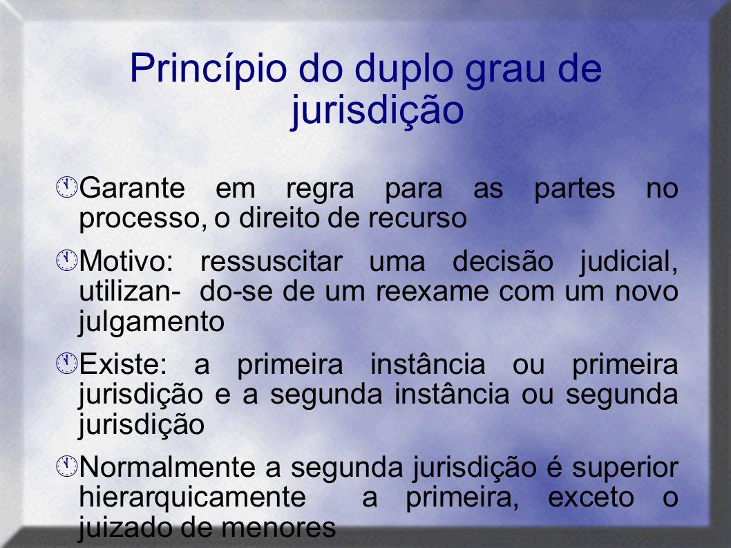 Princípio do duplo grau de jurisdição  Garante em regra para as partes no processo, o direito de recurso  Motivo: ressuscitar uma decisão judicial,