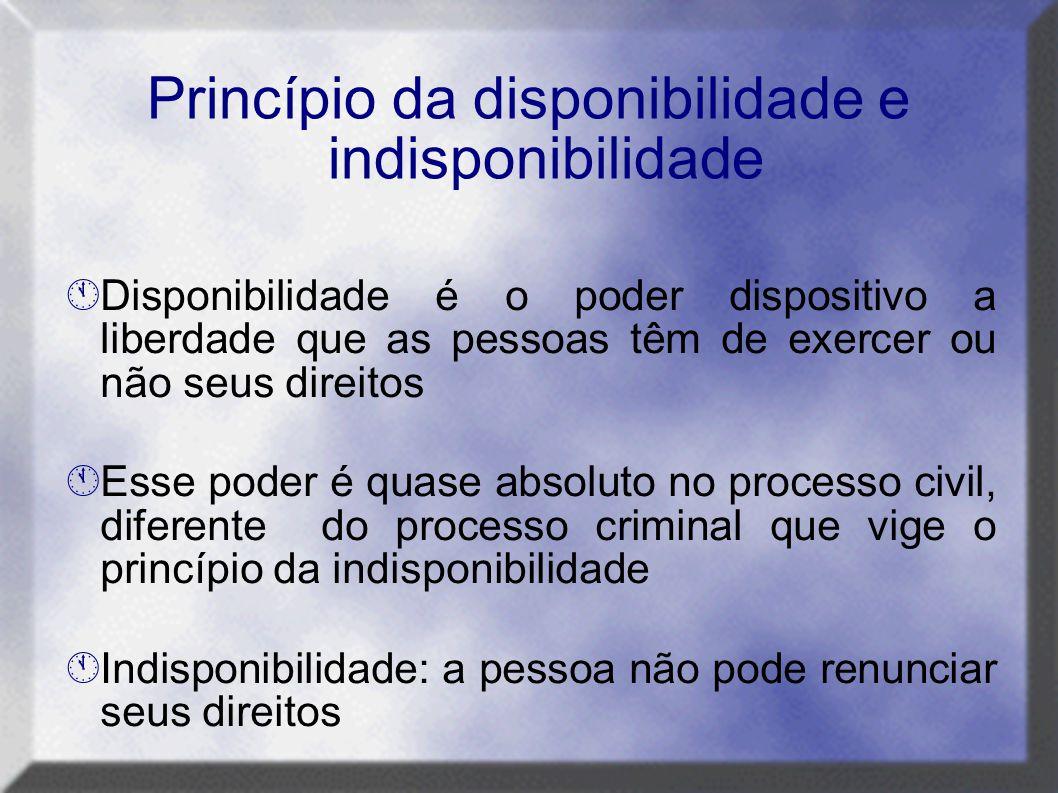 Princípio da disponibilidade e indisponibilidade  Disponibilidade é o poder dispositivo a liberdade que as pessoas têm de exercer ou não seus direito