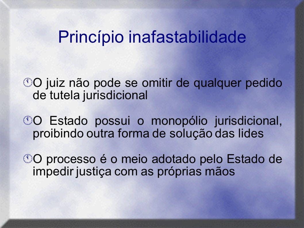 Princípio inafastabilidade  O juiz não pode se omitir de qualquer pedido de tutela jurisdicional  O Estado possui o monopólio jurisdicional, proibin