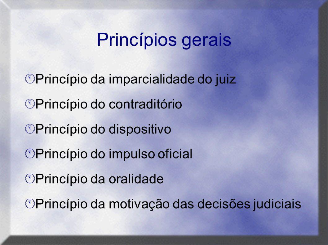  Princípio da imparcialidade do juiz  Princípio do contraditório  Princípio do dispositivo  Princípio do impulso oficial  Princípio da oralidade