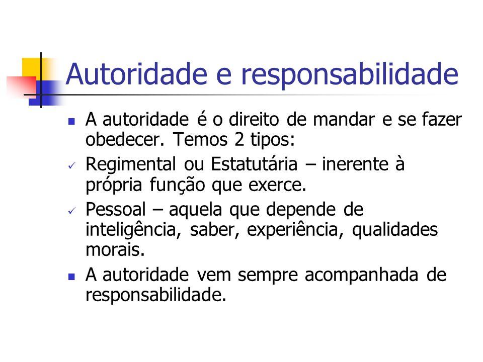 Autoridade e responsabilidade A autoridade é o direito de mandar e se fazer obedecer. Temos 2 tipos: Regimental ou Estatutária – inerente à própria fu