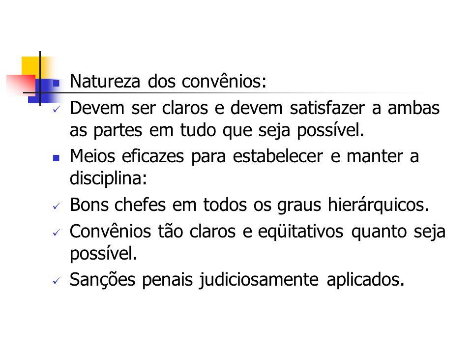Natureza dos convênios: Devem ser claros e devem satisfazer a ambas as partes em tudo que seja possível. Meios eficazes para estabelecer e manter a di