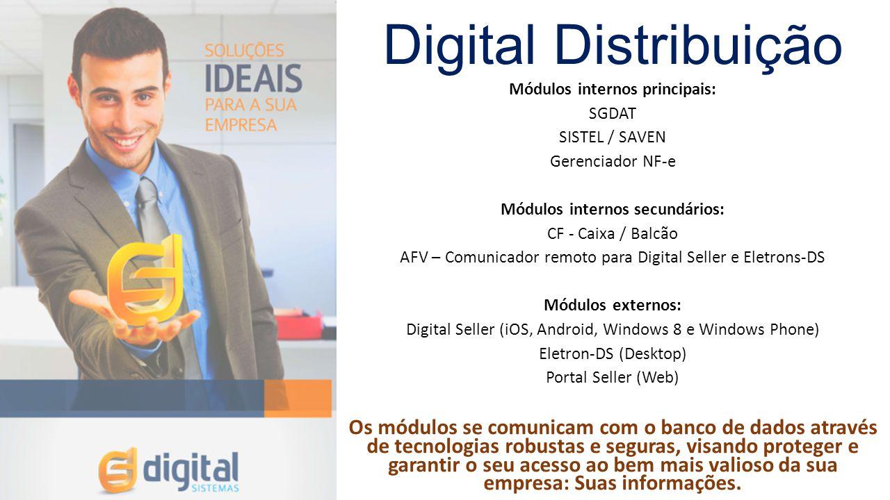 Digital Distribuição Módulos internos principais: SGDAT SISTEL / SAVEN Gerenciador NF-e Módulos internos secundários: CF - Caixa / Balcão AFV – Comuni