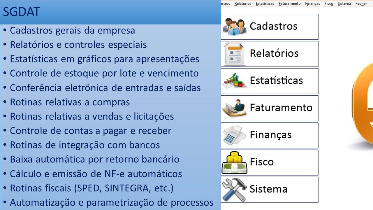 Cadastros gerais da empresa Relatórios e controles especiais Estatísticas em gráficos para apresentações Controle de estoque por lote e vencimento Con