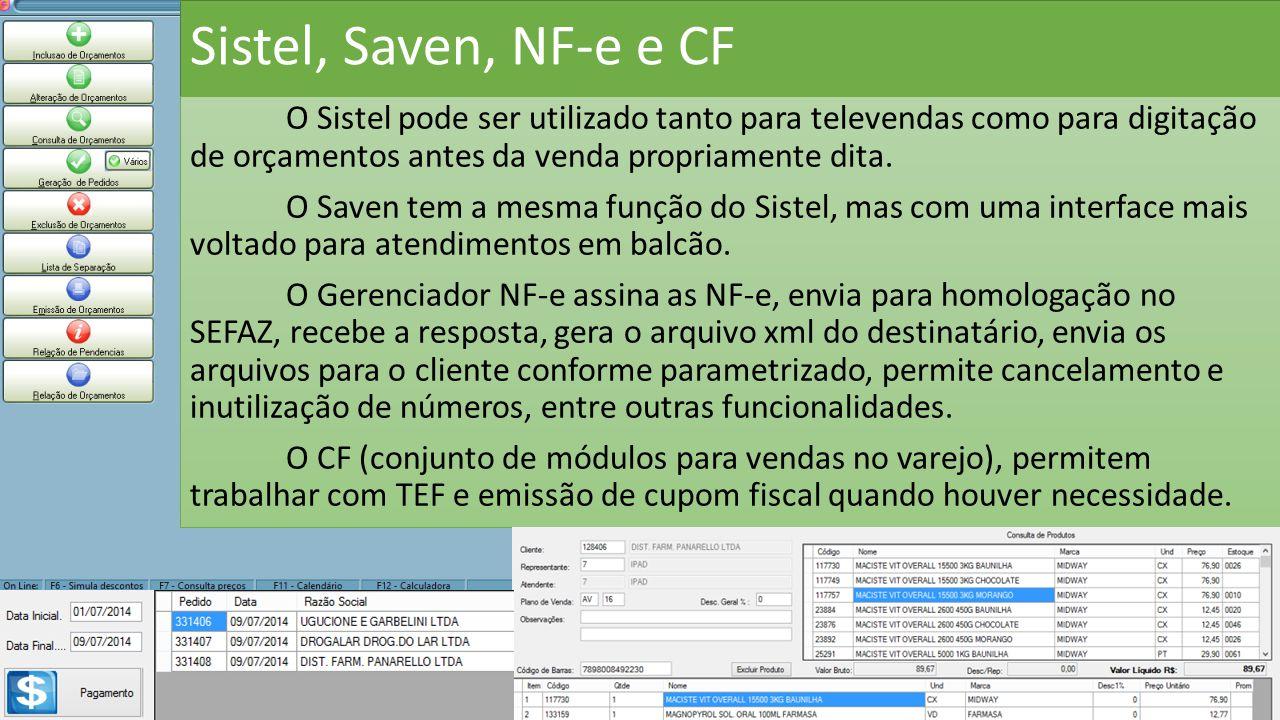 Sistel, Saven, NF-e e CF O Sistel pode ser utilizado tanto para televendas como para digitação de orçamentos antes da venda propriamente dita. O Saven