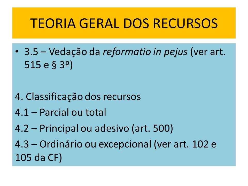 TEORIA GERAL DOS RECURSOS 3.5 – Vedação da reformatio in pejus (ver art.
