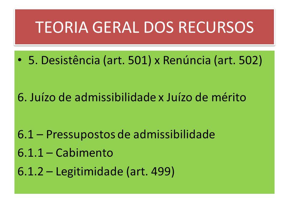 TEORIA GERAL DOS RECURSOS 5.Desistência (art. 501) x Renúncia (art.