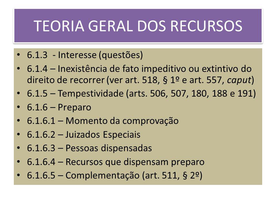 TEORIA GERAL DOS RECURSOS 6.1.3 - Interesse (questões) 6.1.4 – Inexistência de fato impeditivo ou extintivo do direito de recorrer (ver art.