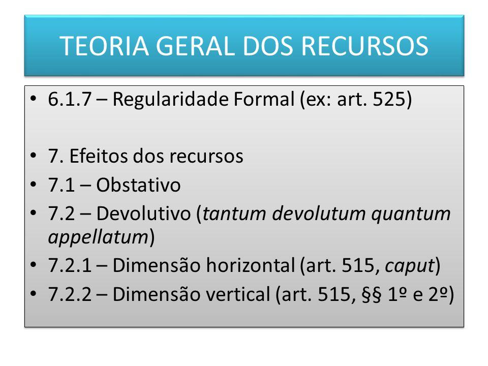 TEORIA GERAL DOS RECURSOS 6.1.7 – Regularidade Formal (ex: art.