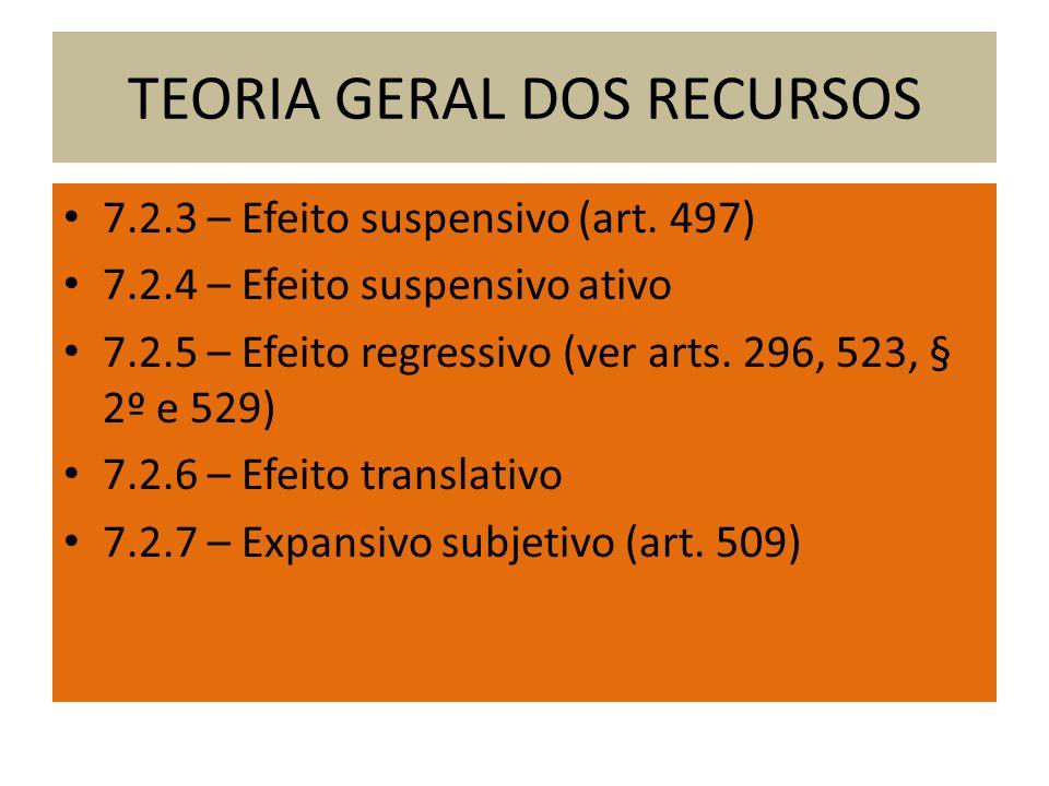 TEORIA GERAL DOS RECURSOS 7.2.3 – Efeito suspensivo (art.