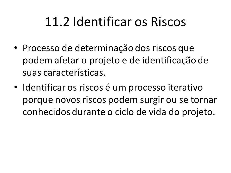 11.2 Identificar os Riscos Processo de determinação dos riscos que podem afetar o projeto e de identificação de suas características. Identificar os r