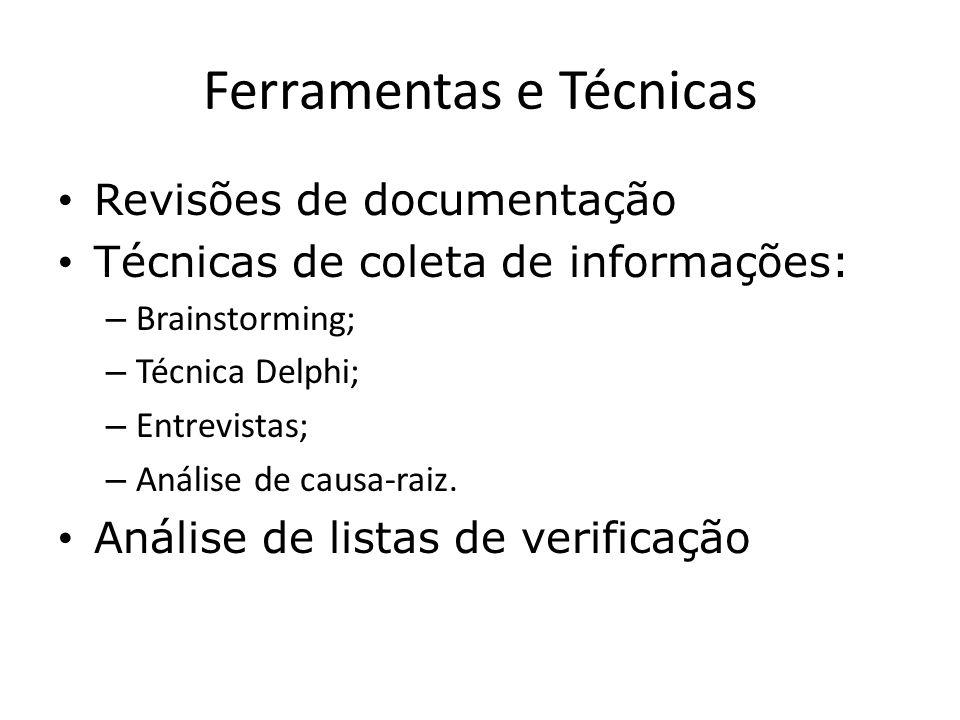 Ferramentas e Técnicas Revisões de documentação Técnicas de coleta de informações: – Brainstorming; – Técnica Delphi; – Entrevistas; – Análise de caus