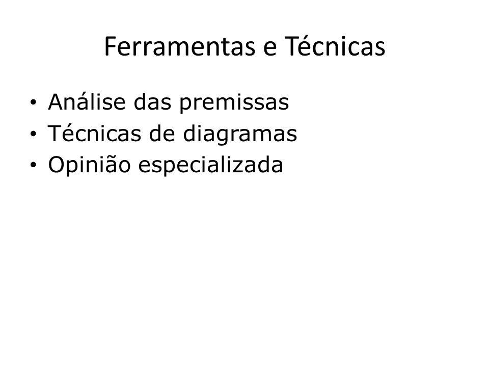Ferramentas e Técnicas Análise das premissas Técnicas de diagramas Opinião especializada