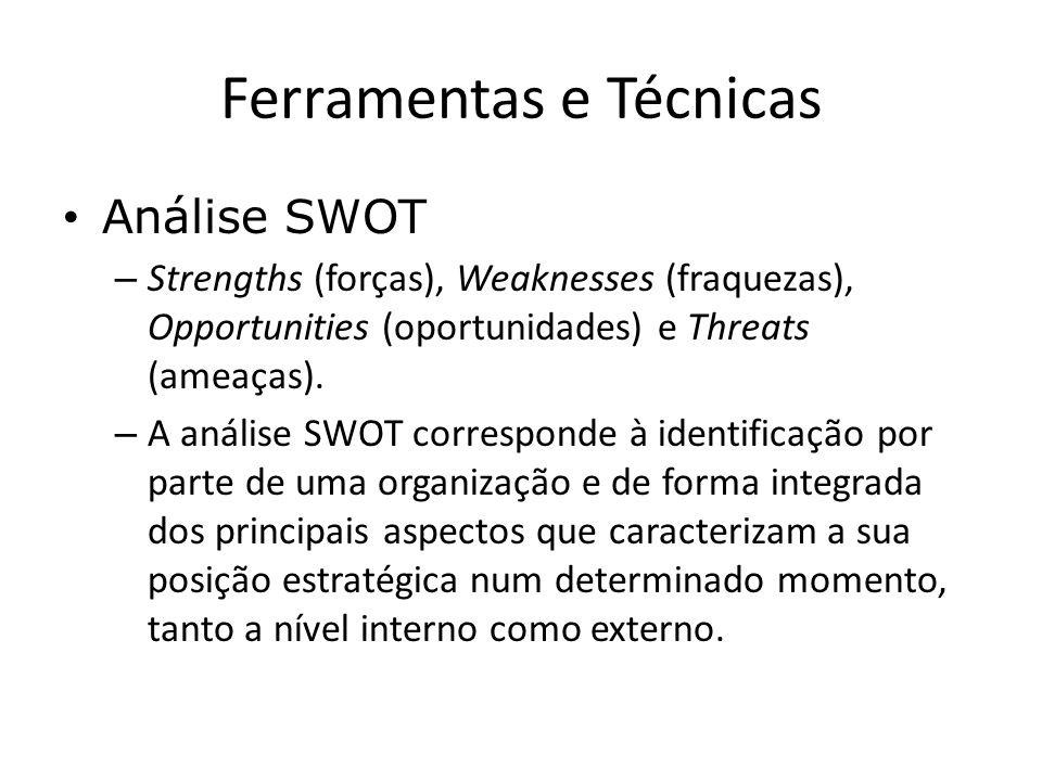 Ferramentas e Técnicas Análise SWOT – Strengths (forças), Weaknesses (fraquezas), Opportunities (oportunidades) e Threats (ameaças). – A análise SWOT