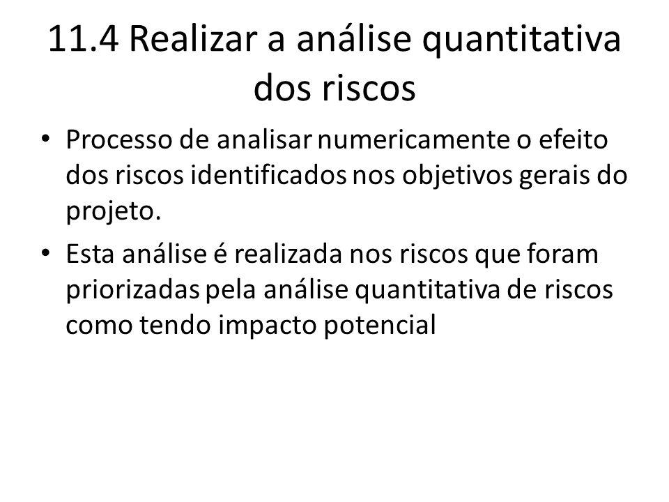 11.4 Realizar a análise quantitativa dos riscos Processo de analisar numericamente o efeito dos riscos identificados nos objetivos gerais do projeto.