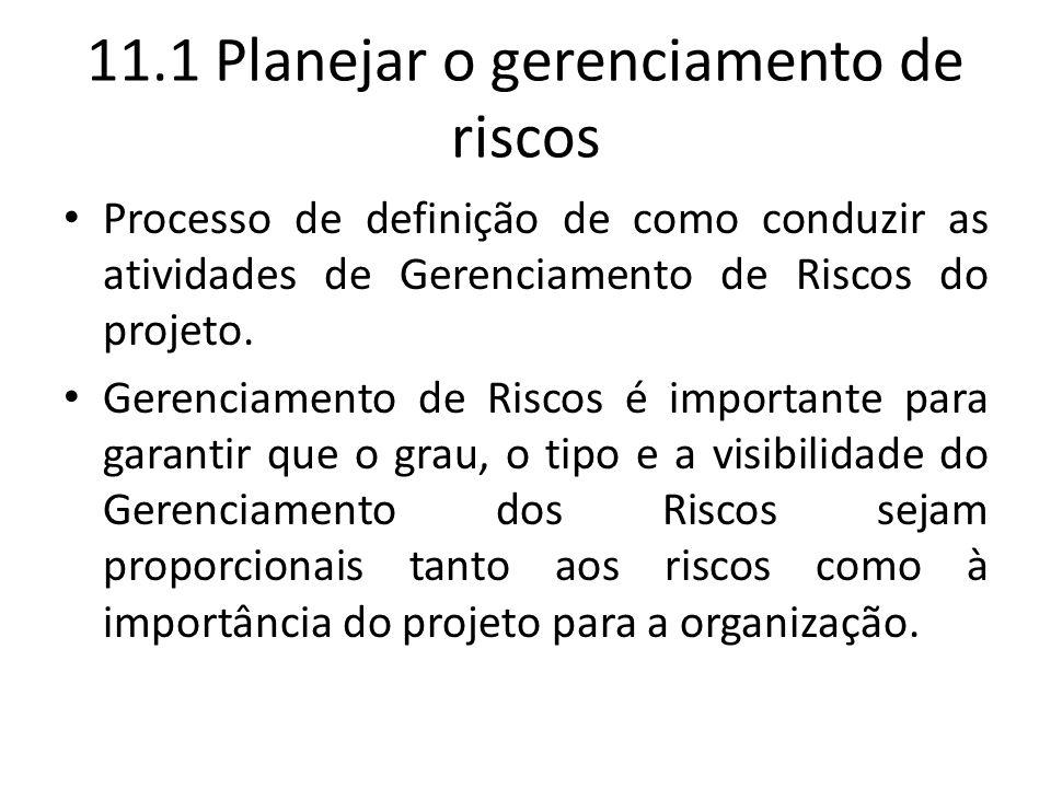 11.1 Planejar o gerenciamento de riscos Processo de definição de como conduzir as atividades de Gerenciamento de Riscos do projeto. Gerenciamento de R