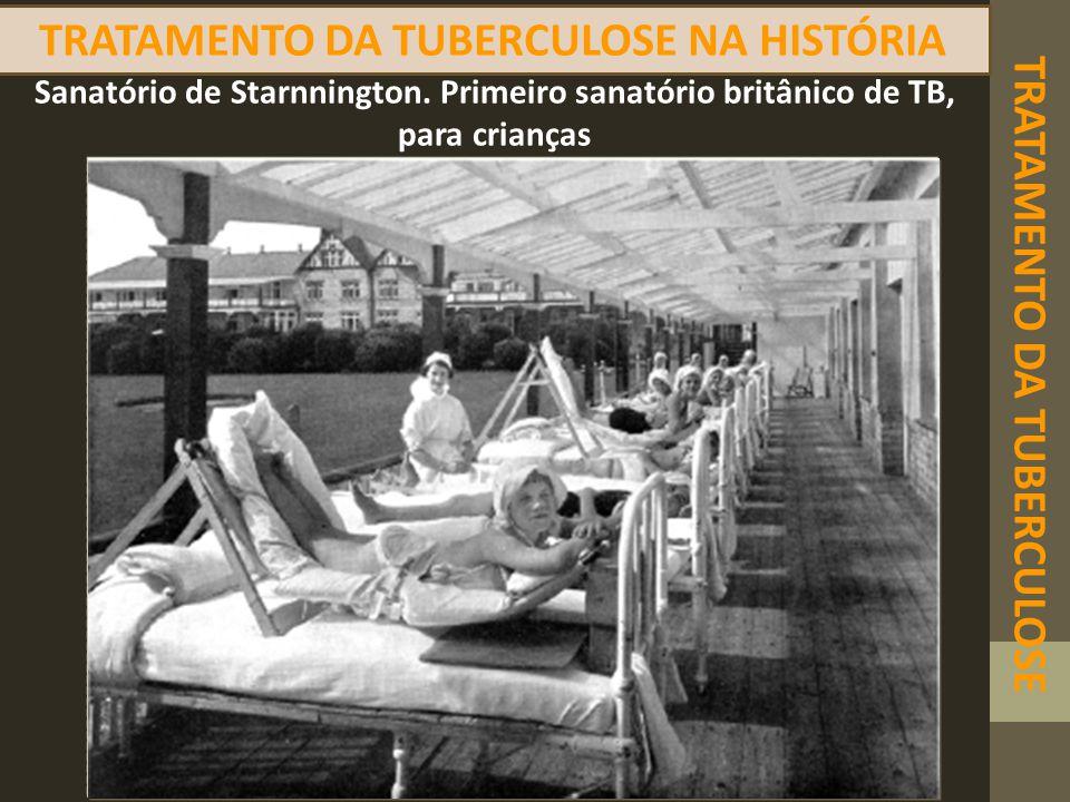 TRATAMENTO DA TUBERCULOSE NA HISTÓRIA TRATAMENTO DA TUBERCULOSE Sanatório de Starnnington. Primeiro sanatório britânico de TB, para crianças