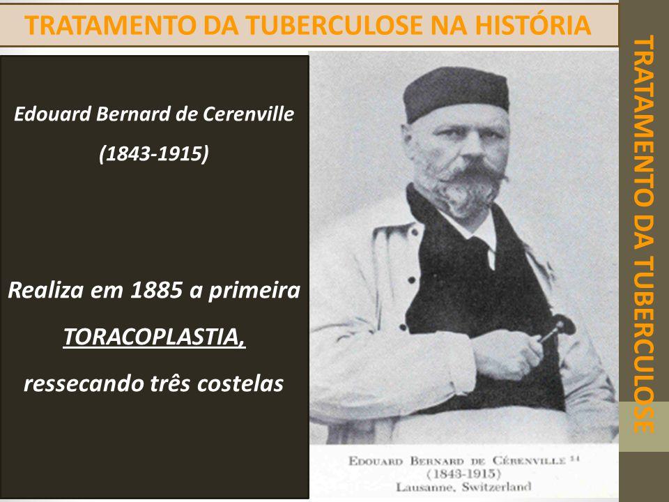 TRATAMENTO DA TUBERCULOSE TRATAMENTO DA TUBERCULOSE NA HISTÓRIA Edouard Bernard de Cerenville (1843-1915) Realiza em 1885 a primeira TORACOPLASTIA, re