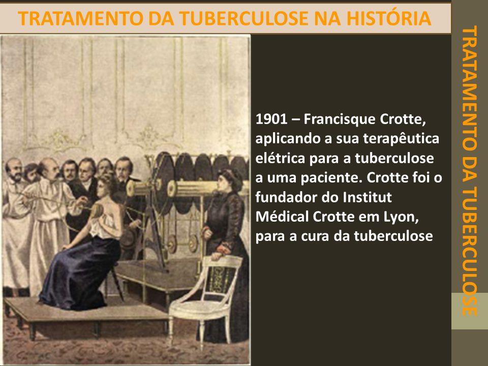 TRATAMENTO DA TUBERCULOSE TRATAMENTO DA TUBERCULOSE NA HISTÓRIA 1901 – Francisque Crotte, aplicando a sua terapêutica elétrica para a tuberculose a um