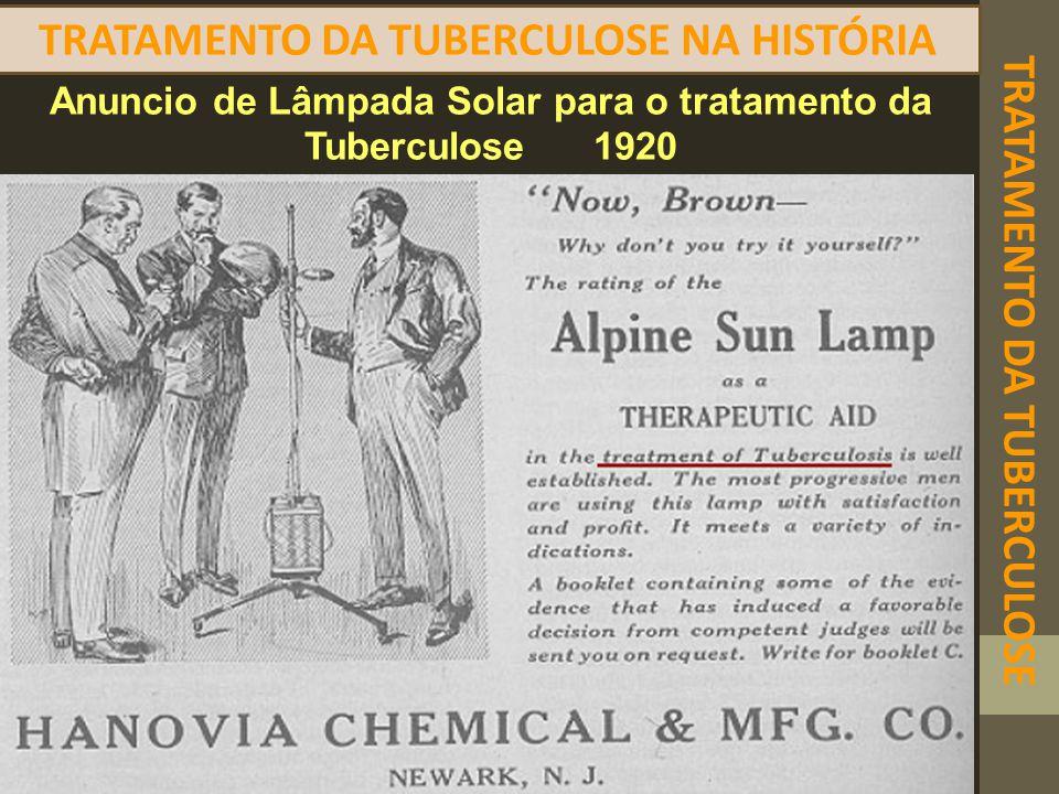 TRATAMENTO DA TUBERCULOSE TRATAMENTO DA TUBERCULOSE NA HISTÓRIA Anuncio de Lâmpada Solar para o tratamento da Tuberculose 1920
