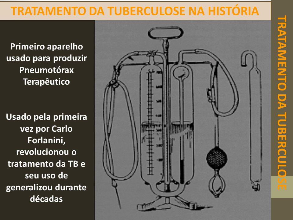 TRATAMENTO DA TUBERCULOSE TRATAMENTO DA TUBERCULOSE NA HISTÓRIA Primeiro aparelho usado para produzir Pneumotórax Terapêutico Usado pela primeira vez