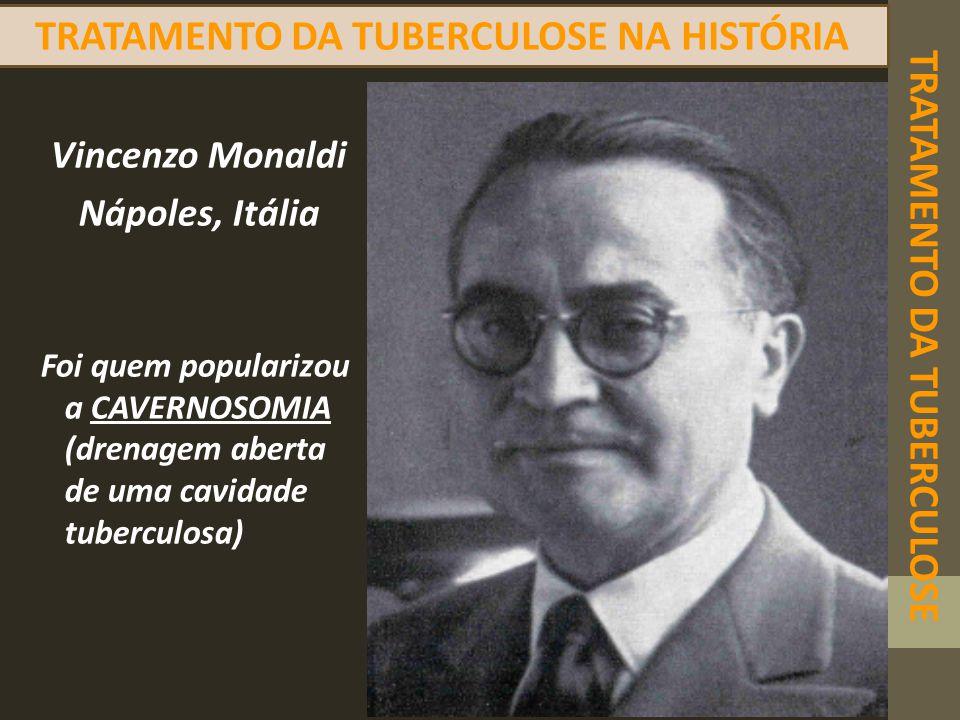 TRATAMENTO DA TUBERCULOSE TRATAMENTO DA TUBERCULOSE NA HISTÓRIA Vincenzo Monaldi Nápoles, Itália Foi quem popularizou a CAVERNOSOMIA (drenagem aberta