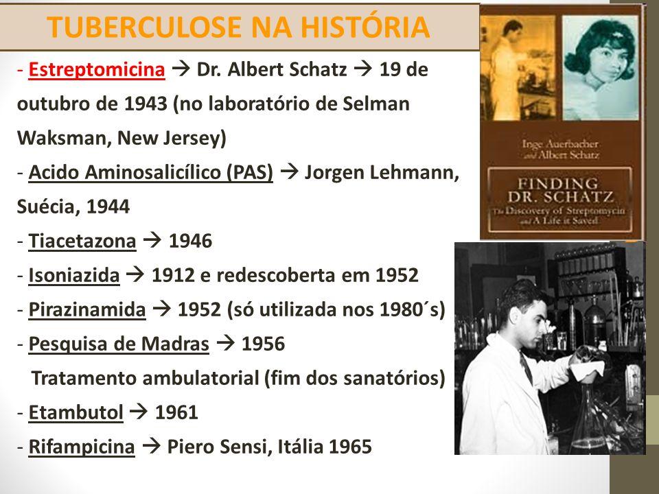 TUBERCULOSE NA HISTÓRIA TRATAMENTO DA TUBERCULOSE - Estreptomicina  Dr. Albert Schatz  19 de outubro de 1943 (no laboratório de Selman Waksman, New