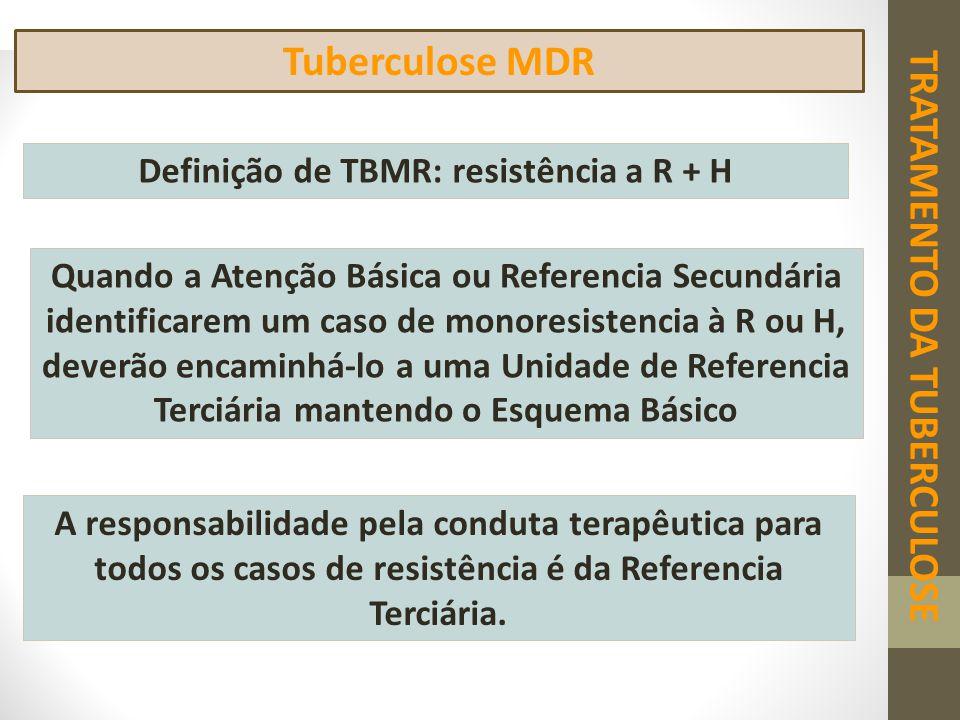 Tuberculose MDR Definição de TBMR: resistência a R + H Quando a Atenção Básica ou Referencia Secundária identificarem um caso de monoresistencia à R o
