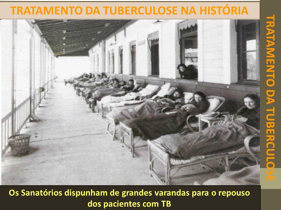 TRATAMENTO DA TUBERCULOSE TRATAMENTO DA TUBERCULOSE NA HISTÓRIA Os Sanatórios dispunham de grandes varandas para o repouso dos pacientes com TB