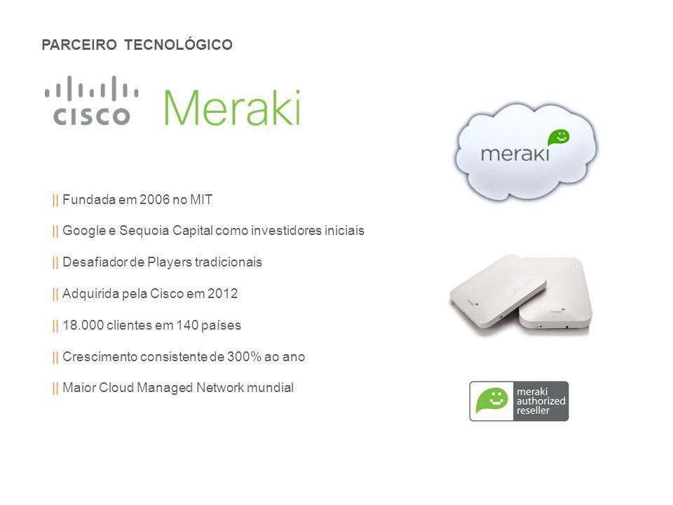 PARCEIRO TECNOLÓGICO || Fundada em 2006 no MIT || Google e Sequoia Capital como investidores iniciais || Desafiador de Players tradicionais || Adquirida pela Cisco em 2012 || 18.000 clientes em 140 países || Crescimento consistente de 300% ao ano || Maior Cloud Managed Network mundial