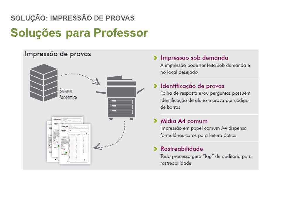SOLUÇÃO: IMPRESSÃO DE PROVAS Soluções para Professor