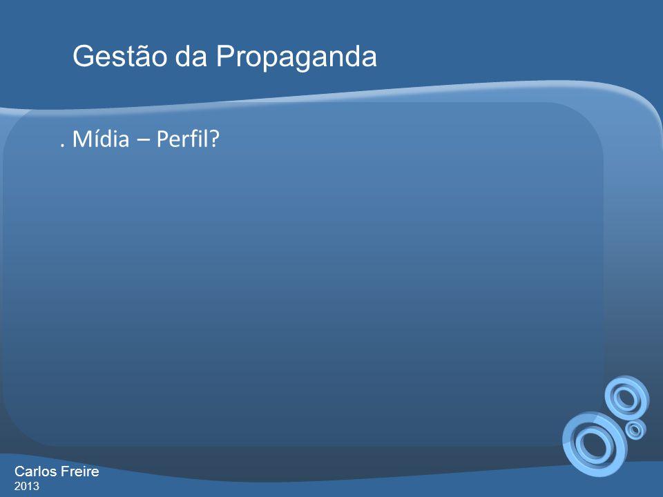 . Mídia – Perfil? Gestão da Propaganda Carlos Freire 2013