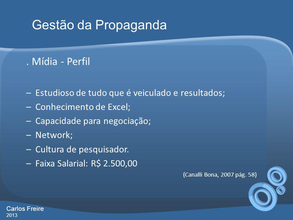 . Mídia - Perfil –Estudioso de tudo que é veiculado e resultados; –Conhecimento de Excel; –Capacidade para negociação; –Network; –Cultura de pesquisad
