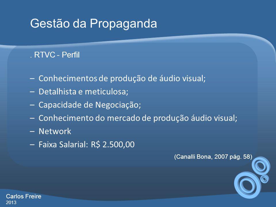 . RTVC - Perfil –Conhecimentos de produção de áudio visual; –Detalhista e meticulosa; –Capacidade de Negociação; –Conhecimento do mercado de produção