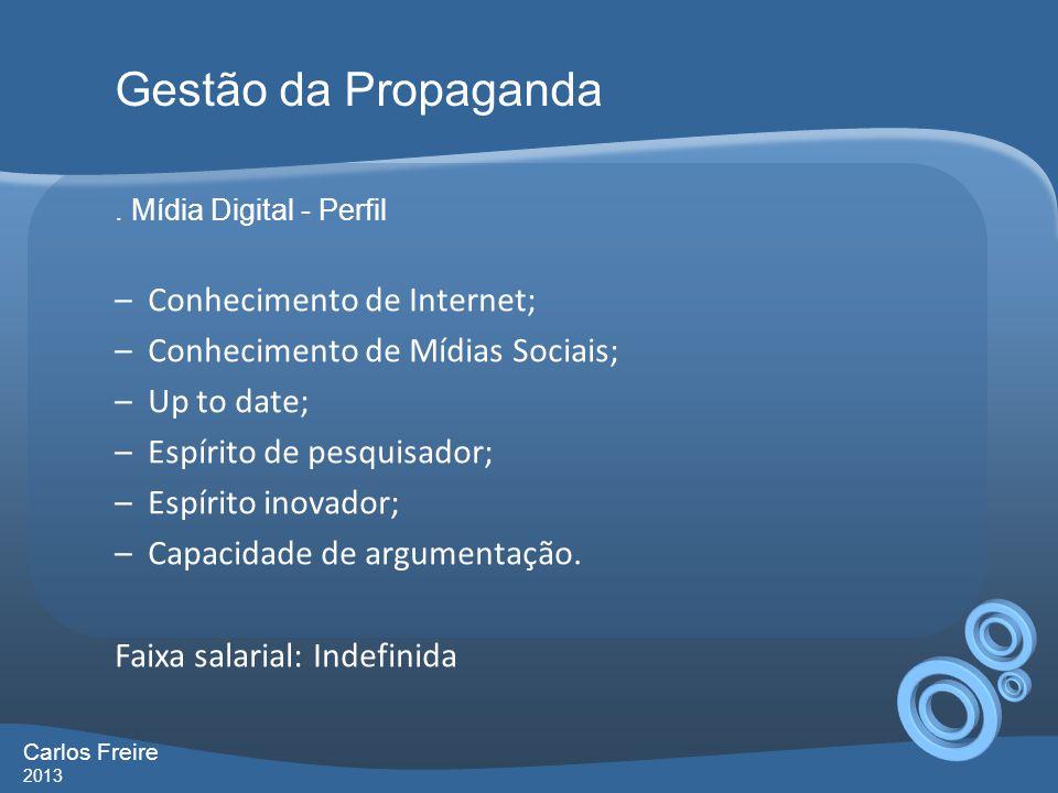 . Mídia Digital - Perfil –Conhecimento de Internet; –Conhecimento de Mídias Sociais; –Up to date; –Espírito de pesquisador; –Espírito inovador; –Capac