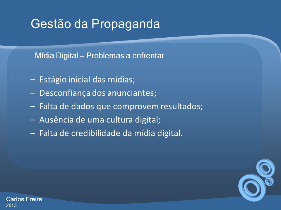 . Mídia Digital – Problemas a enfrentar –Estágio inicial das mídias; –Desconfiança dos anunciantes; –Falta de dados que comprovem resultados; –Ausênci