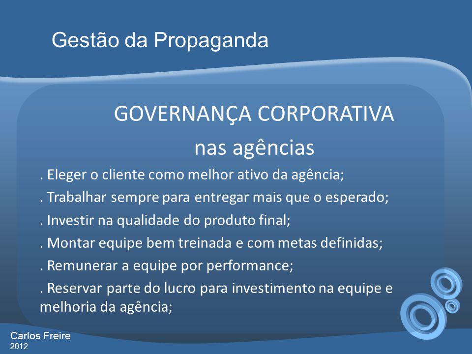 GOVERNANÇA CORPORATIVA nas agências. Eleger o cliente como melhor ativo da agência;. Trabalhar sempre para entregar mais que o esperado;. Investir na