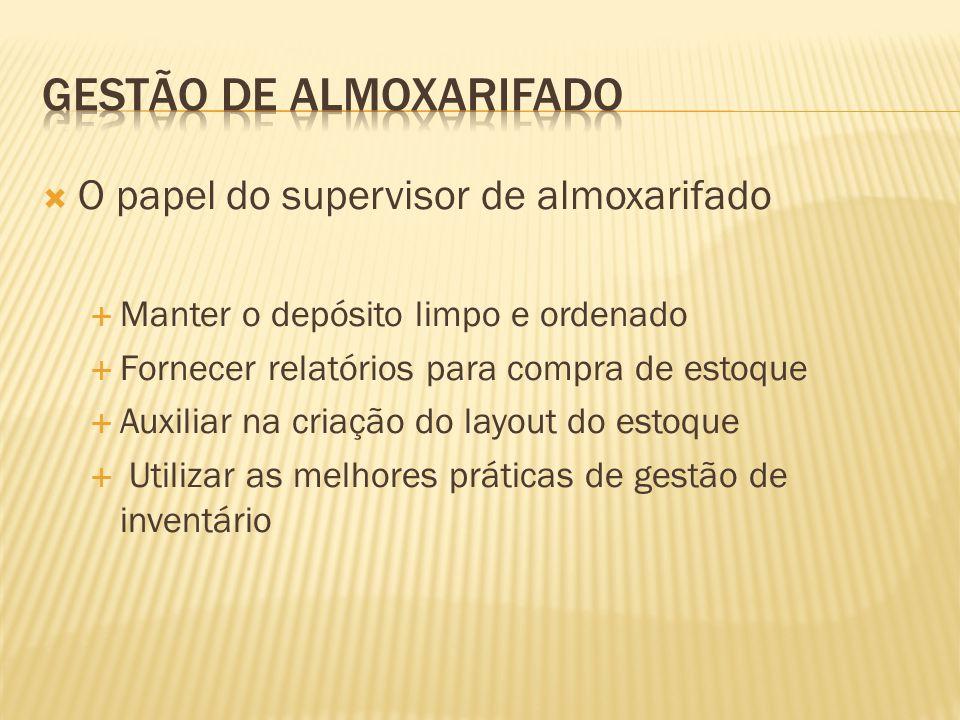  O papel do supervisor de almoxarifado  Manter o depósito limpo e ordenado  Fornecer relatórios para compra de estoque  Auxiliar na criação do lay