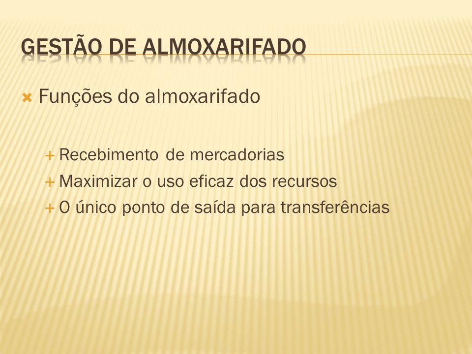  Funções do almoxarifado  Recebimento de mercadorias  Maximizar o uso eficaz dos recursos  O único ponto de saída para transferências