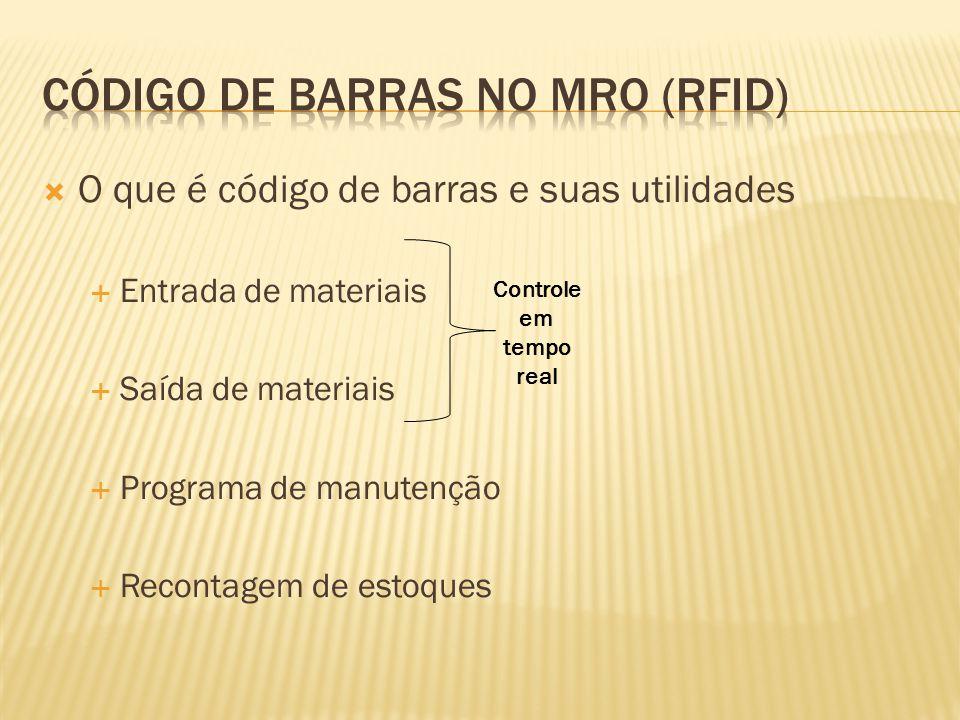  O que é código de barras e suas utilidades  Entrada de materiais  Saída de materiais  Programa de manutenção  Recontagem de estoques Controle em