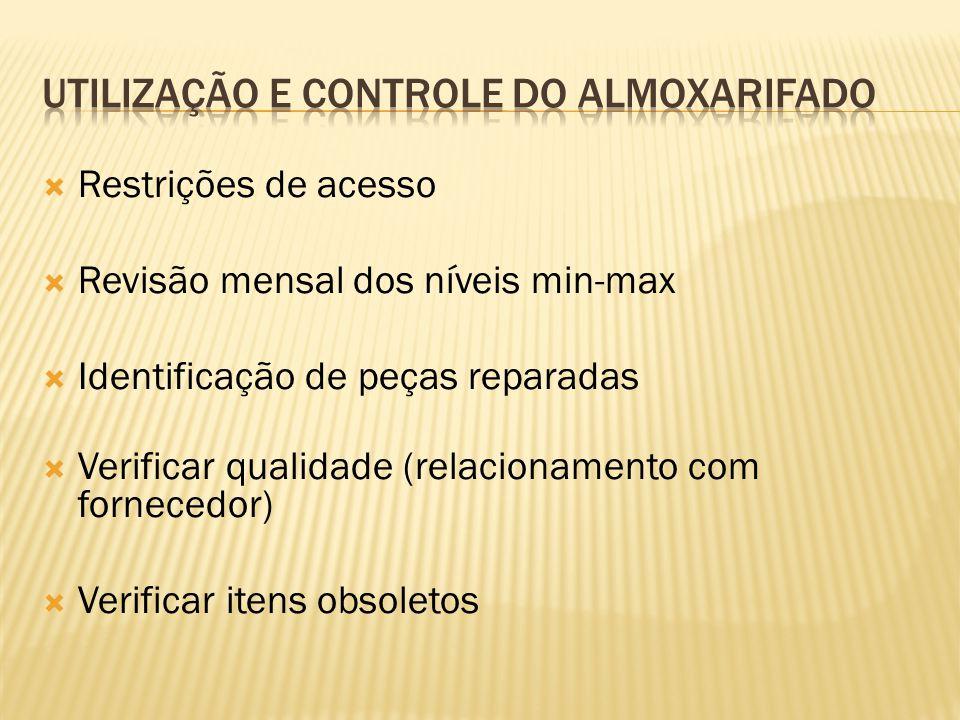  Restrições de acesso  Revisão mensal dos níveis min-max  Identificação de peças reparadas  Verificar qualidade (relacionamento com fornecedor) 