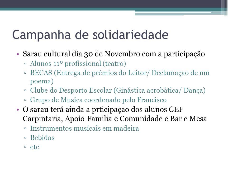 Campanha de solidariedade Sarau cultural dia 30 de Novembro com a participação ▫Alunos 11º profissional (teatro) ▫BECAS (Entrega de prémios do Leitor/