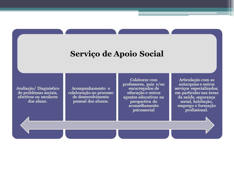 Avaliação/ Diagnóstico de problemas sociais, afectivos ou escolares dos aluno. Acompanhamento e colaboração no processo de desenvolvimento pessoal dos