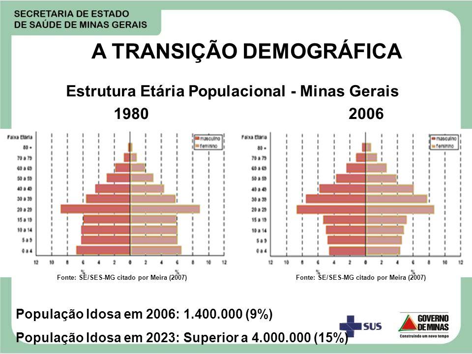 A TRANSIÇÃO DEMOGRÁFICA Fonte: SE/SES-MG citado por Meira (2007) Estrutura Etária Populacional - Minas Gerais 1980 2006 População Idosa em 2006: 1.400