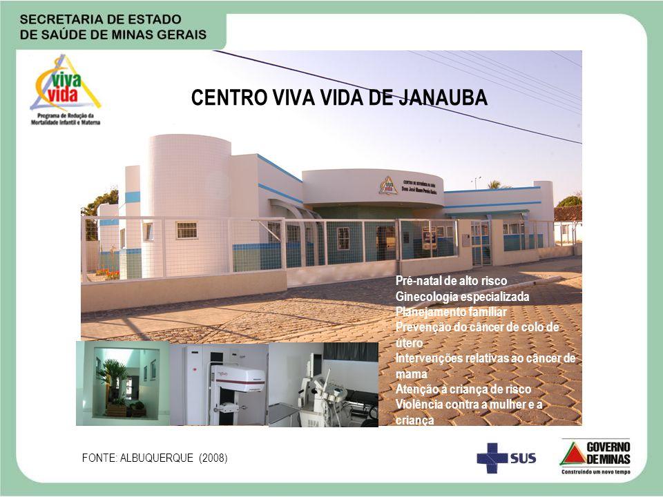 CENTRO VIVA VIDA DE JANAUBA Pré-natal de alto risco Ginecologia especializada Planejamento familiar Prevenção do câncer de colo de útero Intervenções