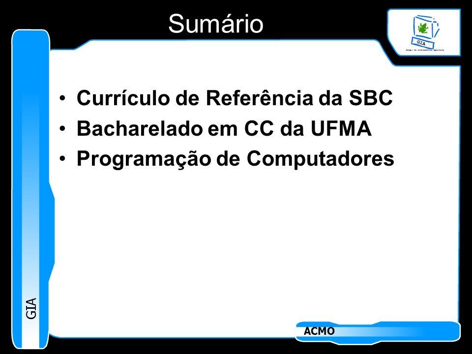 GIA ACMO Sumário Currículo de Referência da SBC Bacharelado em CC da UFMA Programação de Computadores