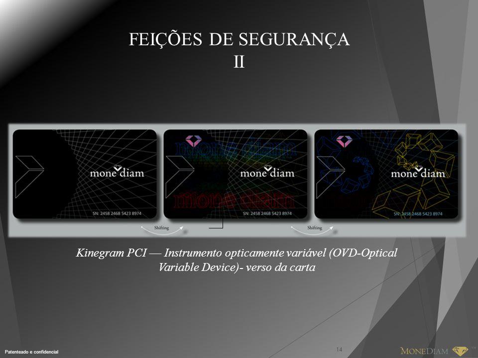 Patenteado e confidencial 14 Kinegram PCI –– Instrumento opticamente variável (OVD-Optical Variable Device)- verso da carta FEIÇÕES DE SEGURANÇA II