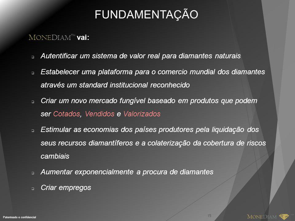 Patenteado e confidencial FUNDAMENTAÇÃO M ONE D IAM TM vai:  Autentificar um sistema de valor real para diamantes naturais  Estabelecer uma platafor
