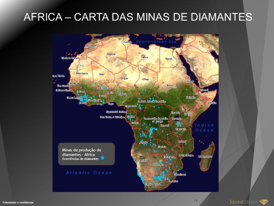 Patenteado e confidencial 19 AFRICA – CARTA DAS MINAS DE DIAMANTES Minas de produção de diamantes – Africa Ocorrências de diamantes